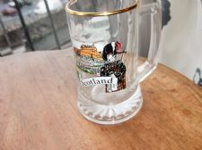COLLECTABLE GILDED GLASS TANKARD SCOTLAND SOUVENIR CASTLES PICTURES EX COND